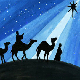 Collagen der Heiligen Drei Könige vor nachtblauem Himmel