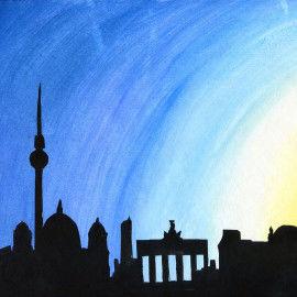 Scherenschnitt-Collage mit der Skyline-Silhouette von Berlin