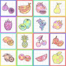 Obst-Ausmalbilder als Gruppenbild-Collage