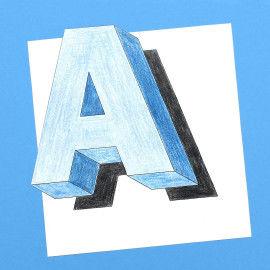 Schwebende Buchstaben zum Ausmalen
