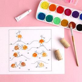 Korkendruck für Kinder - Hasen