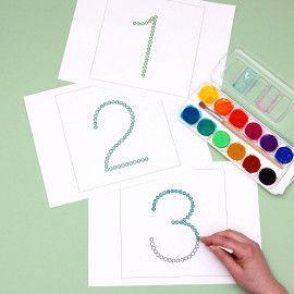 Zahlen von 1 bis 10 zum Bedrucken mit Wattestäbchen für Kinder