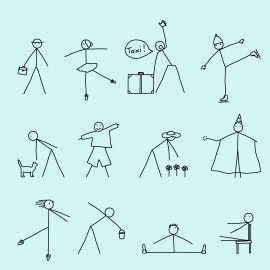 Strichmännchen - Zeichenübungen
