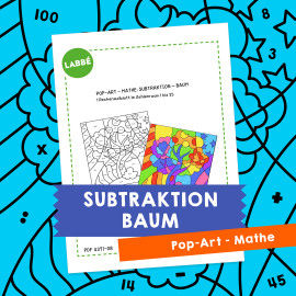 Homeschooling - Pop-Art – Mathe Subtraktion: Baum