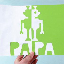 Klappschnittkarte mit Roboter zum Vatertag
