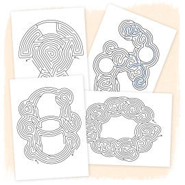 4 Beispielseiten mit Labyrinthen
