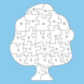 Riesenpuzzle - Baum Druckvorlagen mit 24 Puzzleteilen