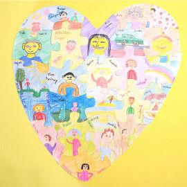 Riesenpuzzle - Herz für die Gruppenarbeit