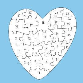 Riesenpuzzle - Herz Druckvorlagen mit 24 Puzzleteilen