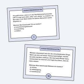 TASK-Karten mit Aufgaben zu Charaktereigenschaften