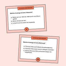 Aufgabenkarten zum Üben zwischen Tatsachen und Meinungen zu unterscheiden