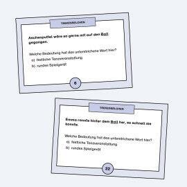 Karten mit Multiple-Choice Aufgaben zu Teekesselchen