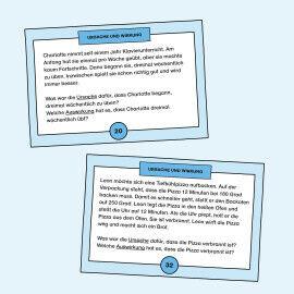 Aufgabenkarten zum Erkennen von Ursache und Wirkung