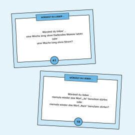 Aufgabenkarten zum Abwägen zwischen zwei Optionen