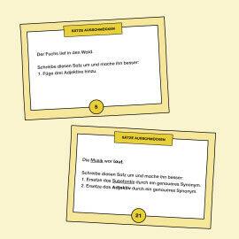 Aufgabenkarten zum Ausschmücken von Sätzen