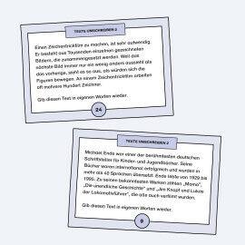 Aufgabenkarten zum Umschreiben von kurzen Texten