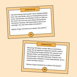 Aufgabenkarten zum Formulieren von passenden Fragen zu einem Text