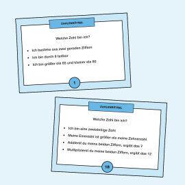 Aufgabenkarten zum Runden von mehrstelligen Zahlen