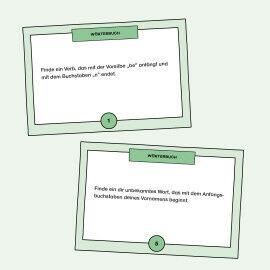 Aufgabenkarten zum Auswählen des passenden Wortes für einen Lückentext