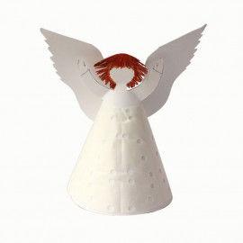 Weißer Engel aus Karton mit Tortenspitze beklebt