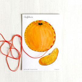 Stickkarte Orange zum Ausmalen und Sticken