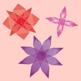 Transparentpapierstreifen in Rot, Rosa und Lila zum Falten von Fenstersternen