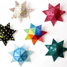 Dicke Sterne bunt bemalt