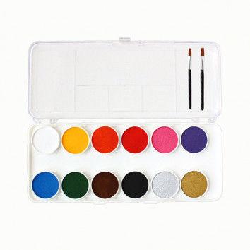 Schmink-Farbkasten mit 12 Farben + 2 Pinsel