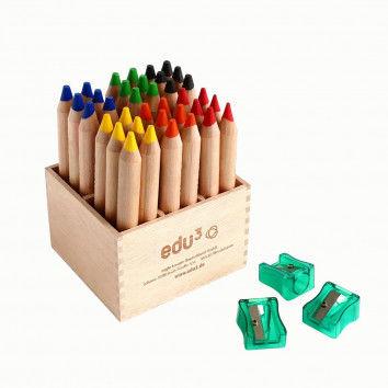 Wachsmalkreide + Spitzer im praktischen Holzaufsteller von edu3