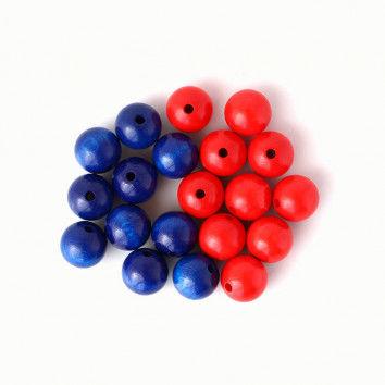 Perlen für Rechenketten, 20 Holzperlen