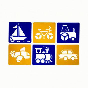 Schablonen mit Fahrzeugen