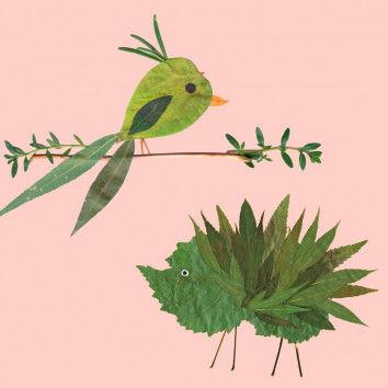 Sommerliche Blätter-Collagen mit grünen Blättern