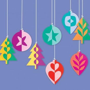 Vorlagen für weihnachtlichen Schmuck zum Schneiden, Klappen und Kleben