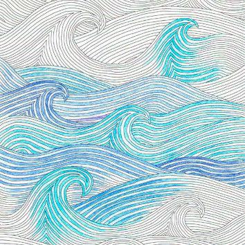 Ausmalbild mit Wellenmotiv