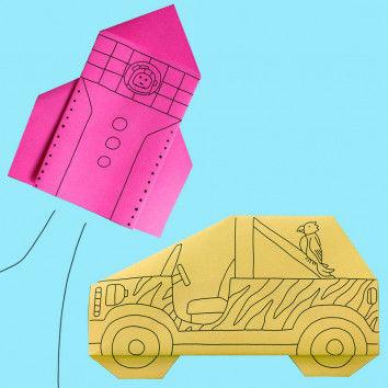 Origami Rakete und Jeep mit witzigen Illustrationen