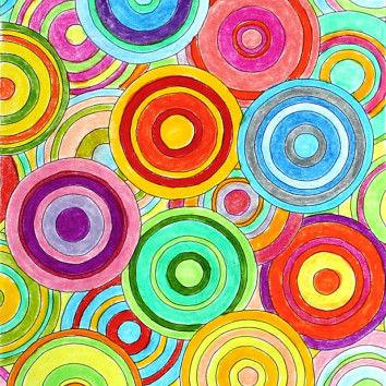 Ausmalbild mit bunten Kreisen