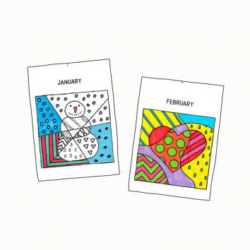 Templates with pop art design for coloring