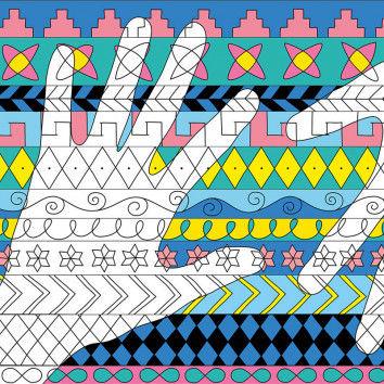 Body-Art - Meine Hand mit Malvorlagen und Mustern