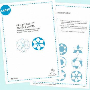 Beispielseiten aus dem PDF Mathekunst mit Zirkel + Lineal für den Geometrie Unterricht
