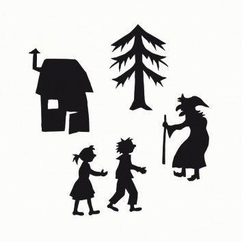 Scherenschnittvorlagen für das Schattentheater Hänsel und Gretel