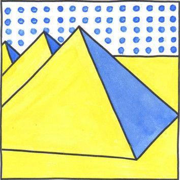 Pop-Art Malvorlage Pyramide nach Roy Lichtenstein