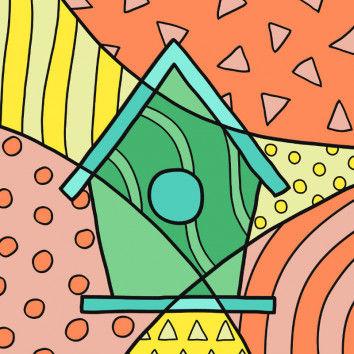 Pop-Art Frühling - Vogelhaus Malvorlage mit poppigen Mustern