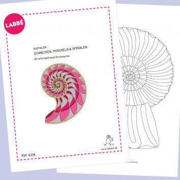 """Beispielseiten aus der """"Ausmalen – Schnecken, Muscheln & Spiralen PDF"""""""