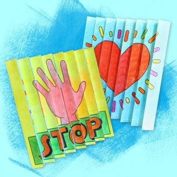 Zickzack-Bilder Motive - STOP und Herz