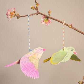 Singvögel Mobile basteln