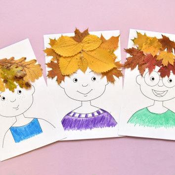 Collagen mit witzigen Blätter-Frisuren