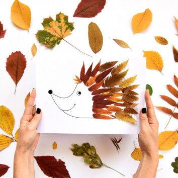 Blätter-Tiere - Igel mit Herbstblättern bekleben