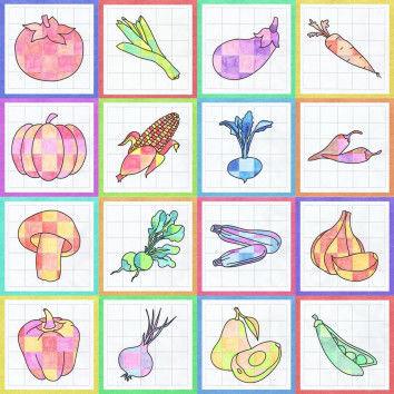 Gemüse-Ausmalbilder als Gruppenbild-Collage