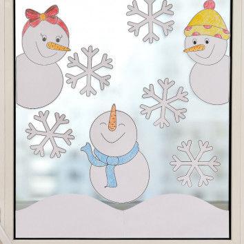 Süße Fensterbilder mit Schneemännern & Schneeflocken basteln