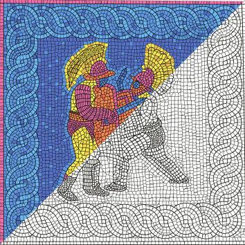 Römische Gladiatioren - Mosaikbilder, Wandgemälde 35,5 x 35 cm